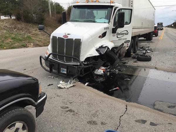 Woman injured after striking semi Wednesday on Ky. 461