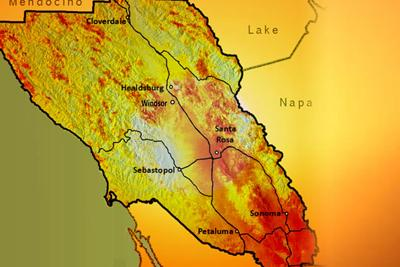 sonoma climate map