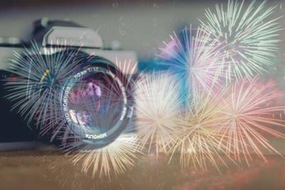 Fourth of July Camera Stock Image