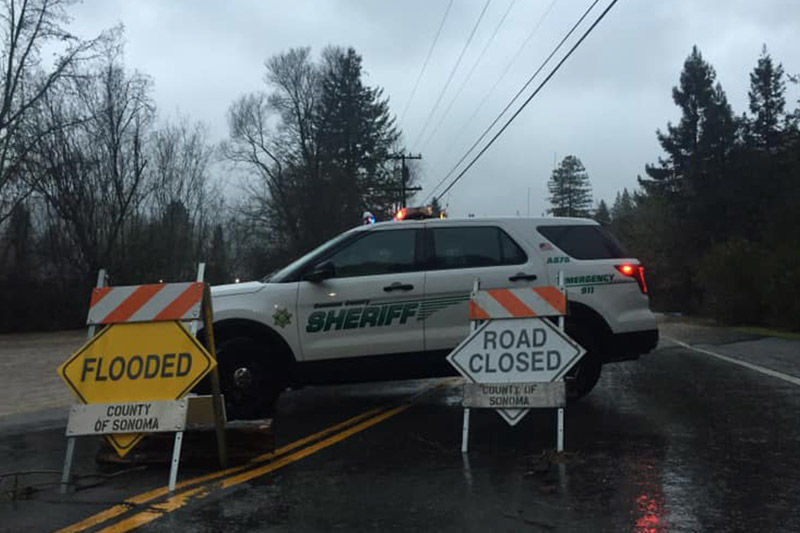 sheriff's car and flood