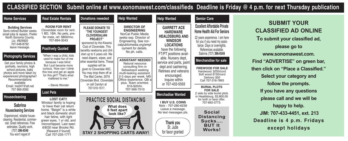 Classified Ads 7-30-20