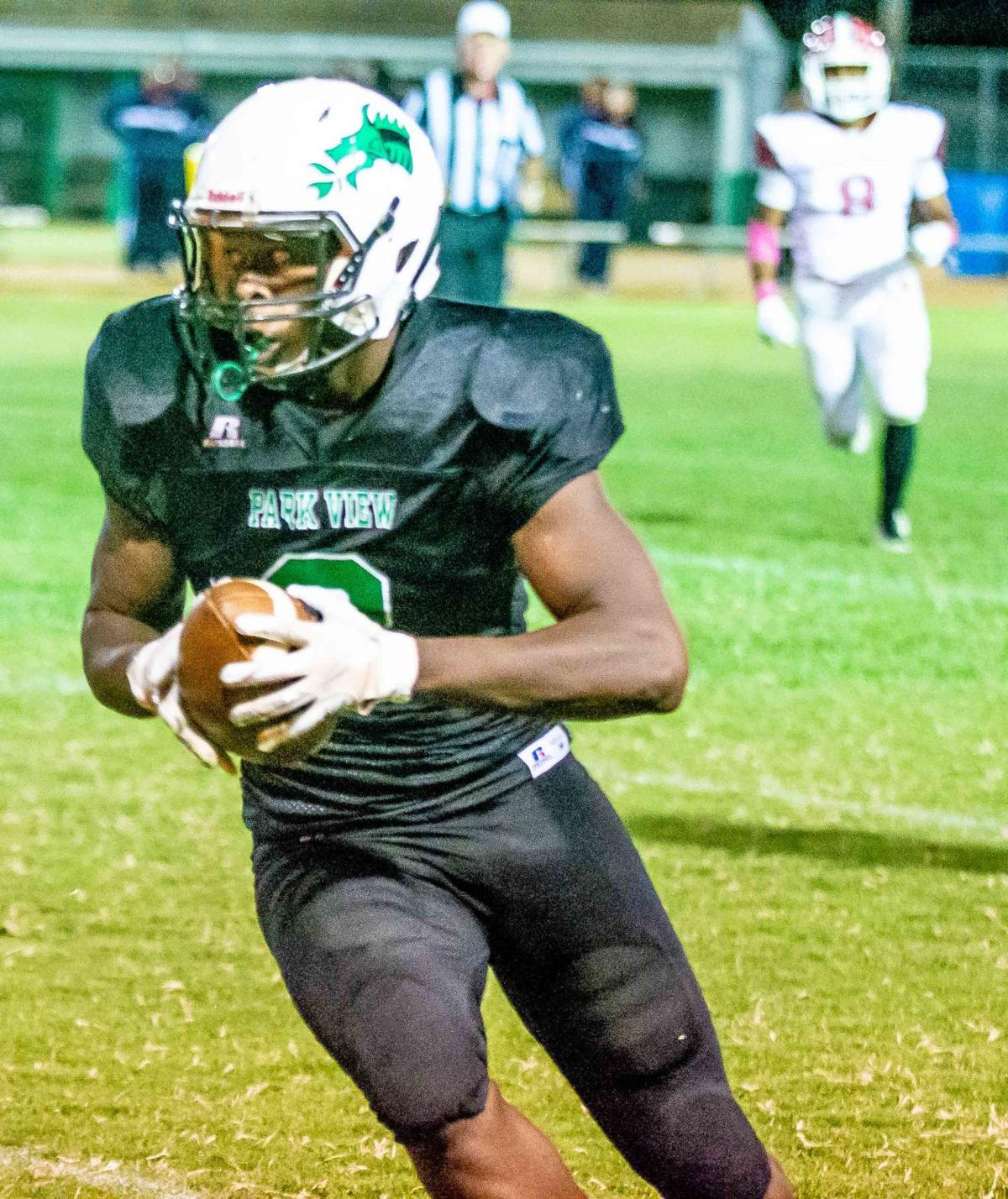 Park View HS receiver Dontavious Wilson grabbed seven passes for 131 yards and two touchdowns on Friday night but the Dragons' gave up a late score and fell 34-29 to visiting Sussex-Central HS. (Dennis Smith)