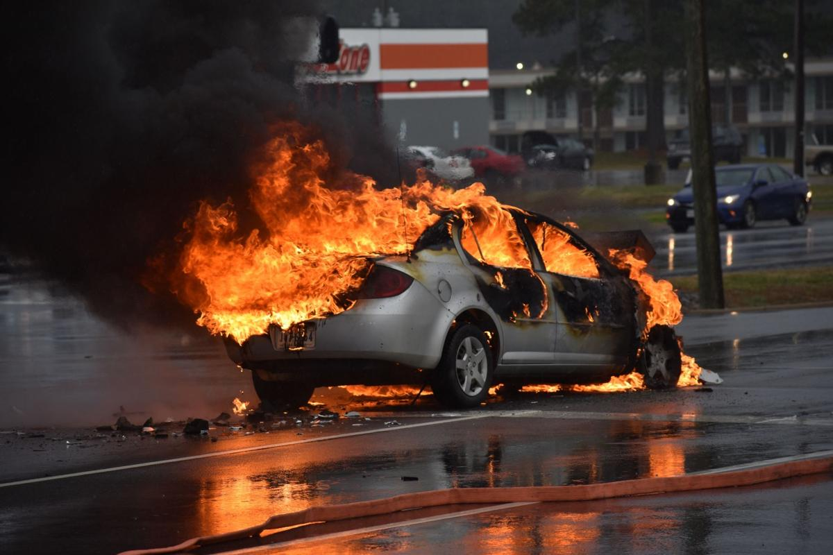 Car engulfed in flames on Atlantic Street in South Hill