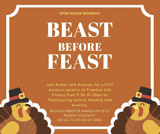 Details for the Beast Before Feast workout