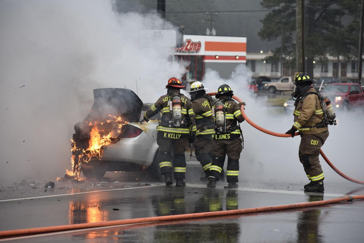 Car engulfed in flames on East Atlantic Street in South Hill