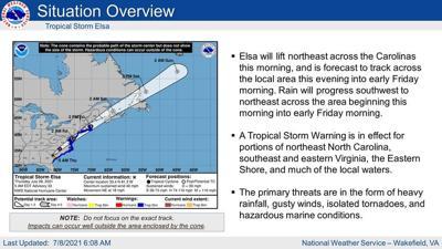 Tropical Storm Elsa heads towards VA and NC
