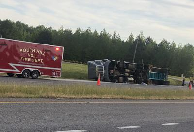 Overturned tractor trailer causes HWY 58 west bound lane closure
