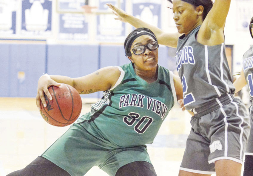 Park View's Teonia Watts looks for a little space on this drive as Brunswick's Aniya Seward defends in action last Wednesday night in Lawrenceville. (Dennis Smith)