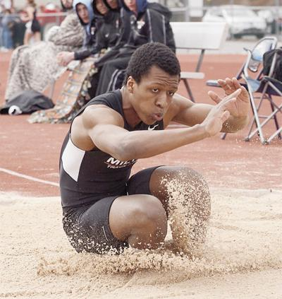 Milton's Norman Whaley won the triple jump with this leap of 43-8 at the Selinsgrove Classic Saturday.