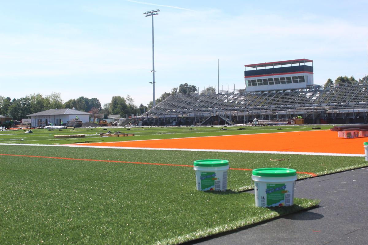 Turf installation ongoing