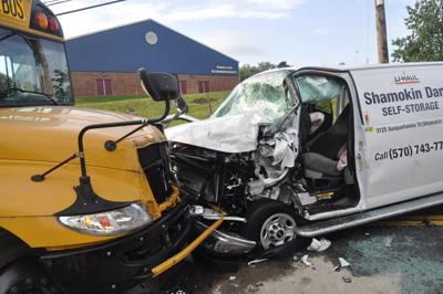 Two people in critical condition following Thursday's van versus bus crash