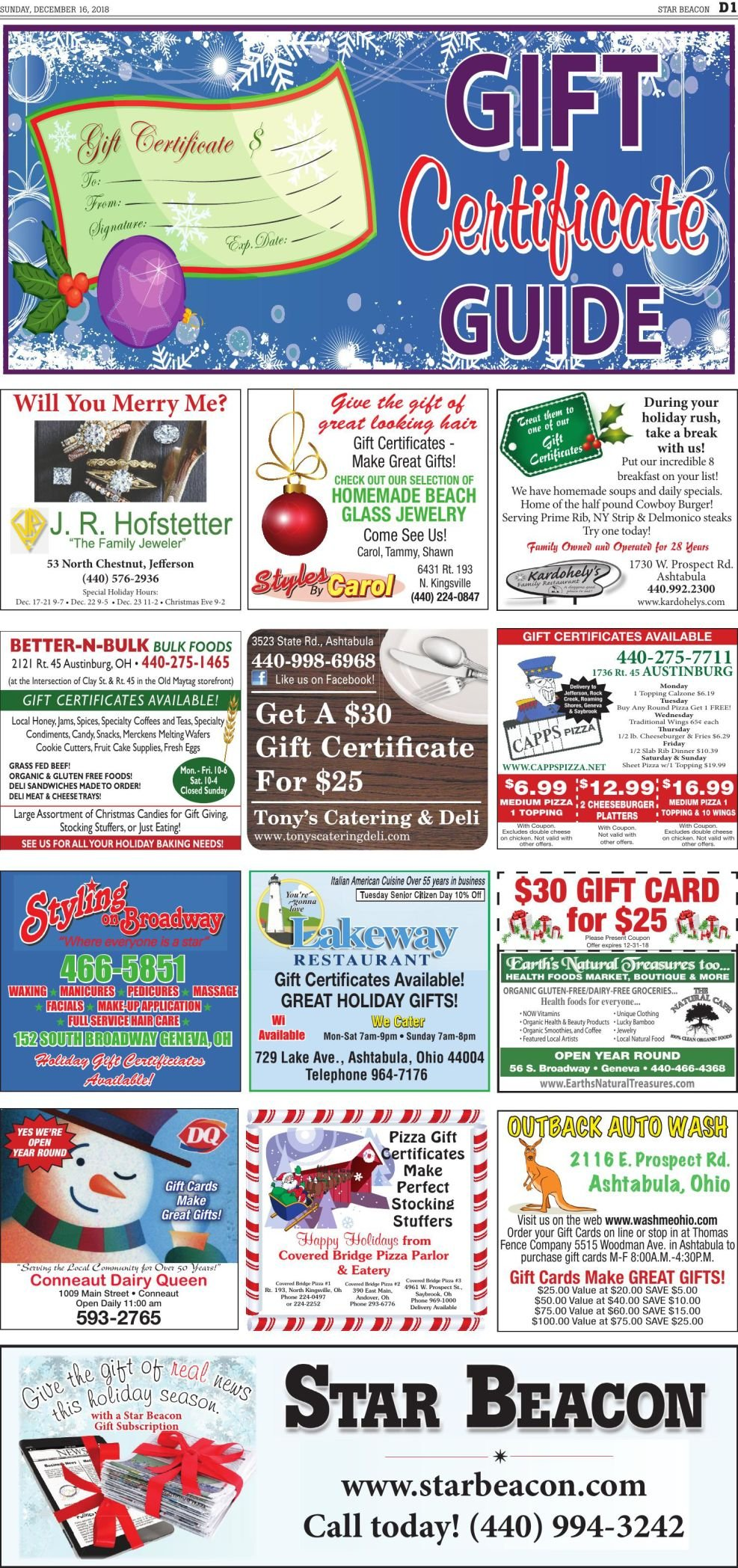 GIFT CERTIFICATES PAGE - Dec. 16 2018