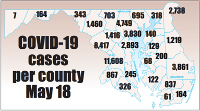 COVID-19 cases by county May 18