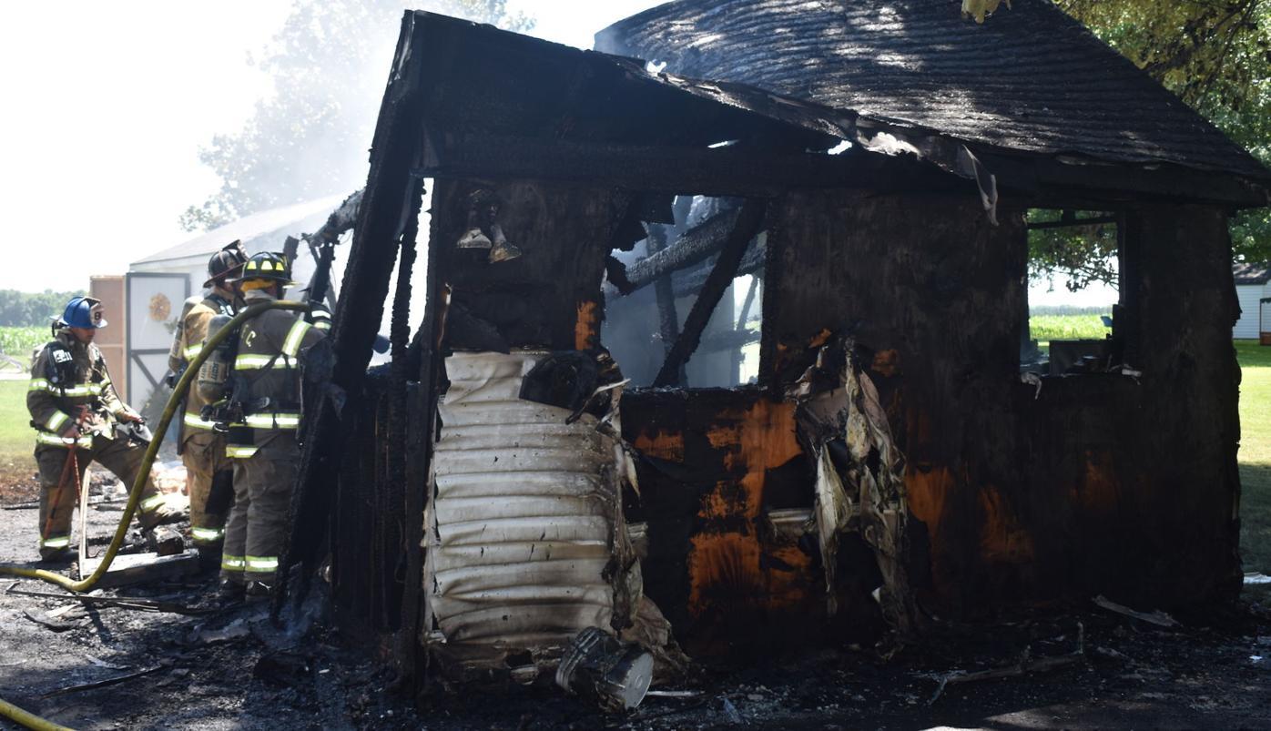 Destroyed shed
