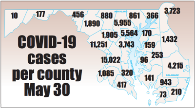 COVID-19 cases by county May 30