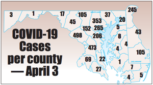 COVID-19 cases by county - April 2