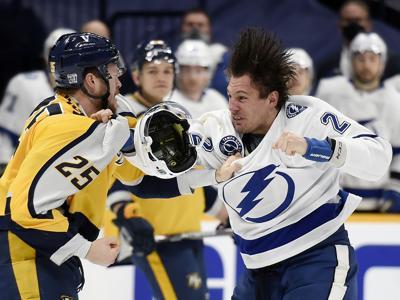 APTOPIX Lightning Predators Hockey