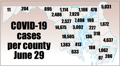 COVID-19 cases by county June 29