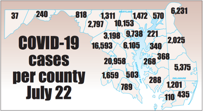 COVID-19 cases by county July 22