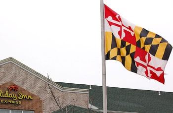 Upside down Md. flag a mistakeBlack and yellow square should be on top next to flagpole