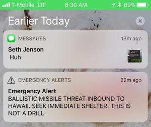 Hawaii officials mistakenly warn of inbound missile