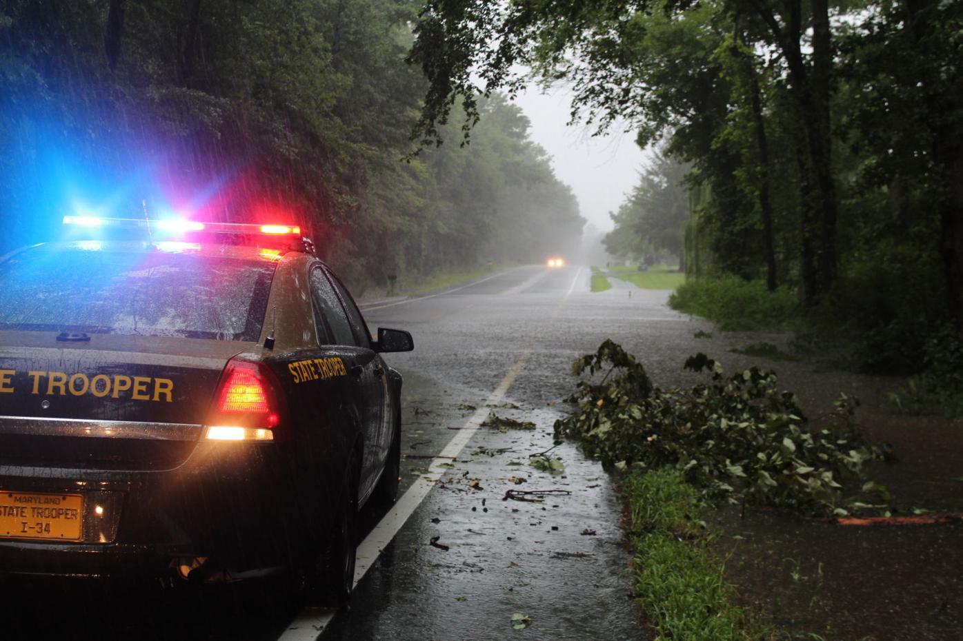 Torrential rain floods Mid-Shore roads