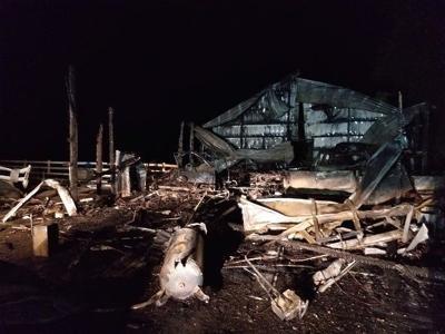 Fire destroys pole barn in Worton