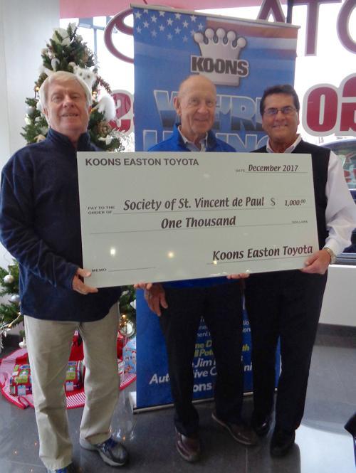 Koons Toyota Easton >> Koons Toyota Of Easton Donates To Society Of St Vincent De Paul