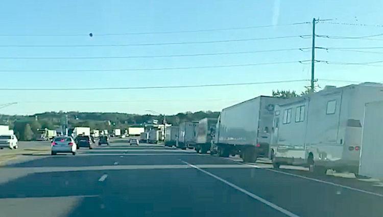 Trucks line roads on Kent Island