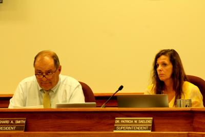 Dr. Patricia Saelens and Board of Education President Richard Smith