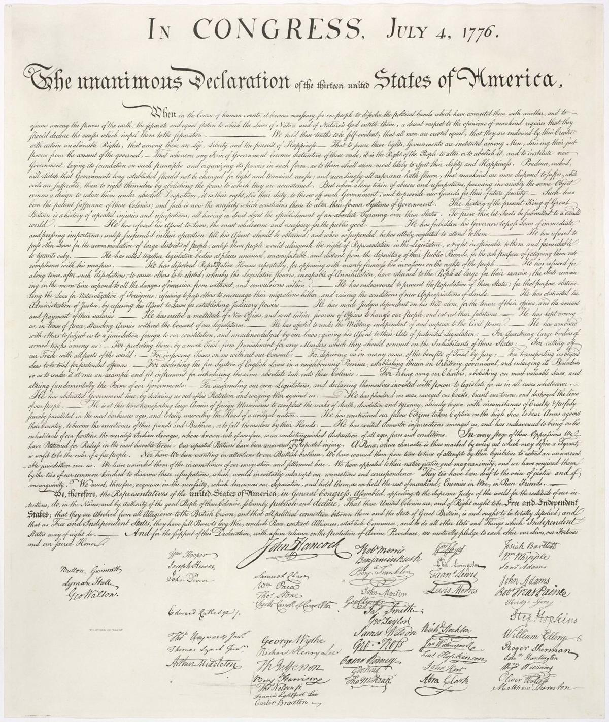 DAR to display early copy of Declaration of Independence
