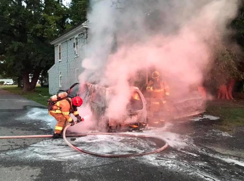 Slacum Street auto arson with firefighters