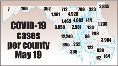 COVID-19 cases by county May 19