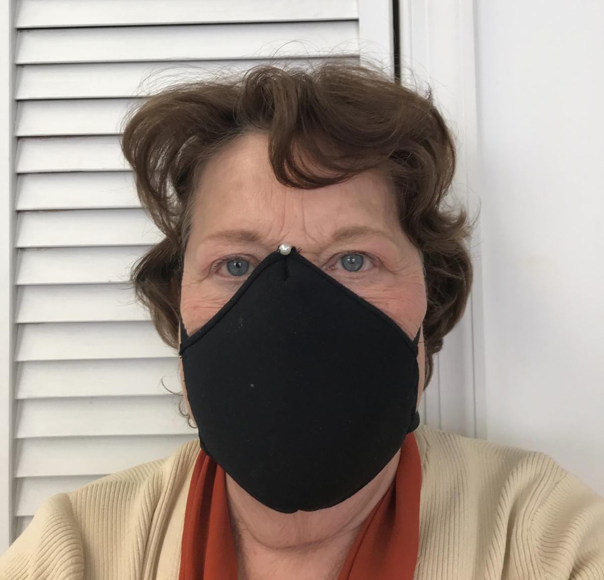 Dr. Fredia Wadley wears a homemade mask