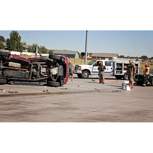 Three Car Accident Occurs At Highway Intersection