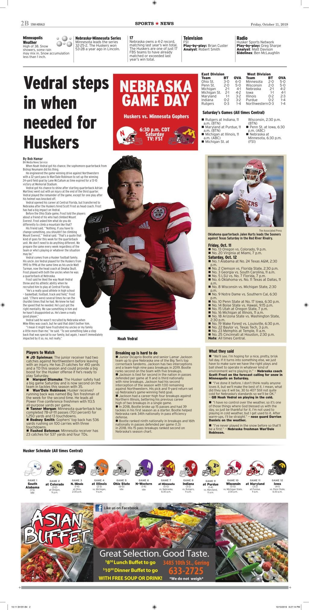 Husker page — Oct. 11