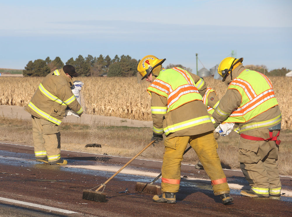 Crash leaves fuel on highway but no one seriously injured
