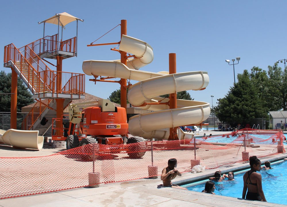 Replacing Big Blue New Slide Going Up At Gering Swimming Pool