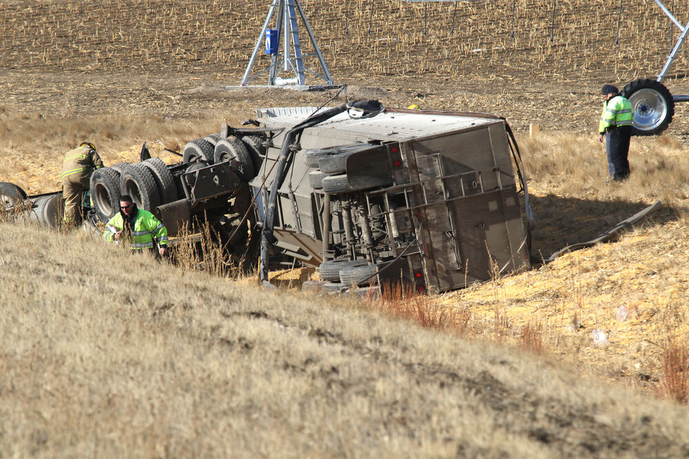 One person injured in semi rollover