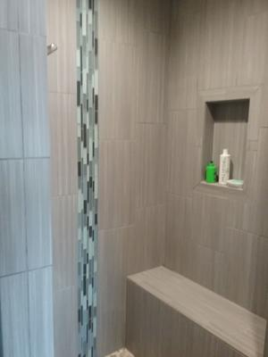 A & R Wood & Tile Installations | Shower Tile with Inset Shelf View 1