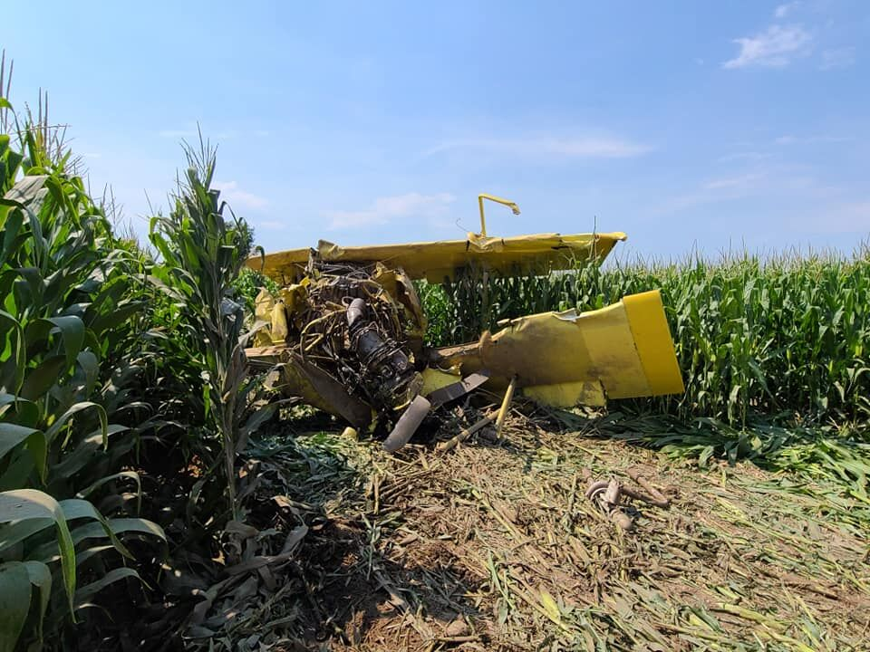 Pilot injured in crop duster crash