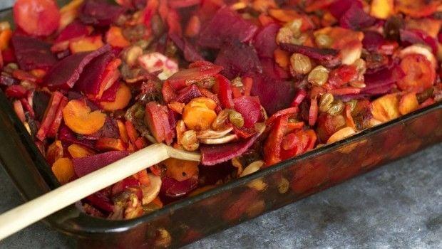 Carrot, Parsnip, Beet and Sweet Potato Tsimmes