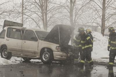Car totaled in vehicle fire