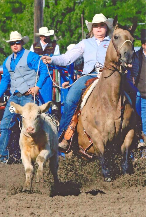 Chadron State cowgirl wins breakaway roping at CSC rodeo