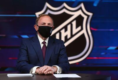 NHL commissioner Gary Bettman prepares for the first round of the 2020 National Hockey League Draft at the NHL Network Studio on October 6, 2020 in Secaucus, New Jersey.