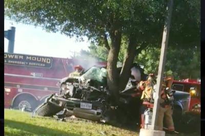Adult, two children hospitalized after crash in Flower Mound