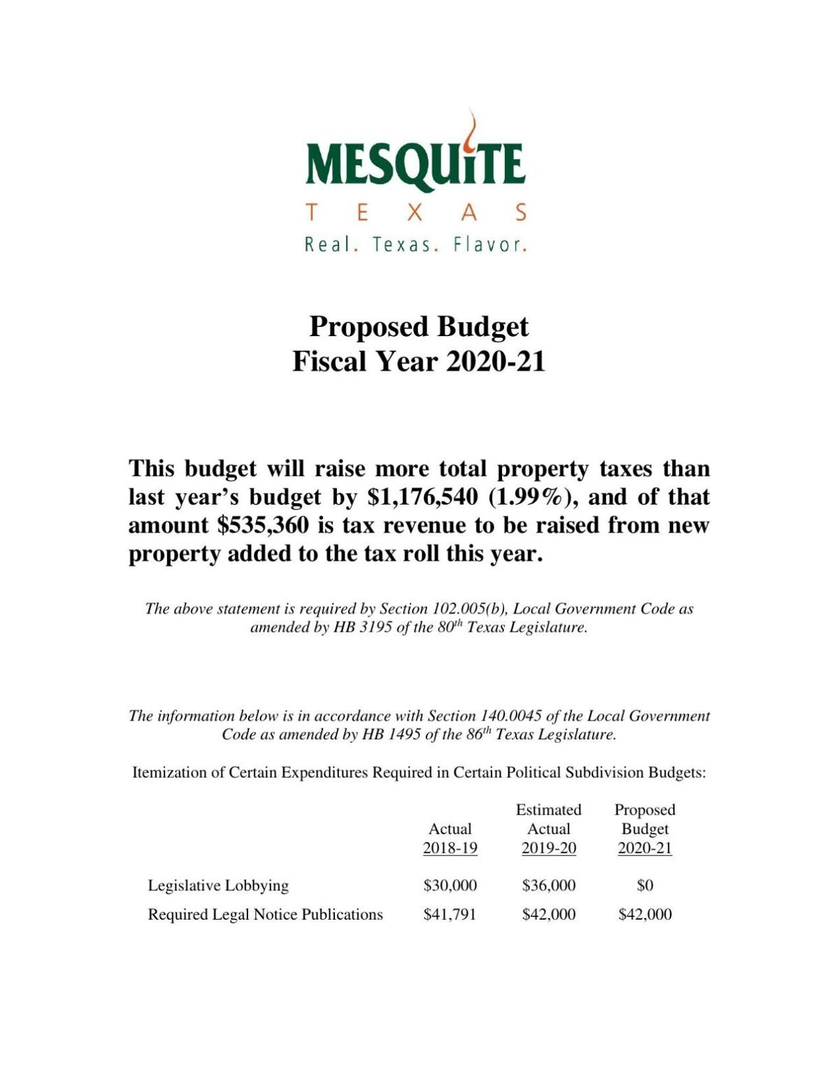 Mesquite FY2021 proposed budget