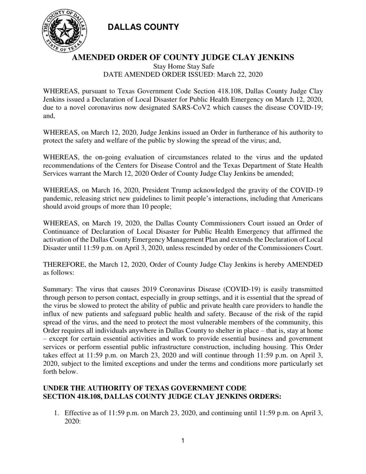 March 23 Dallas County amended order