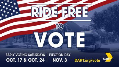 Ride DART for free to vote in the 2020 General Election