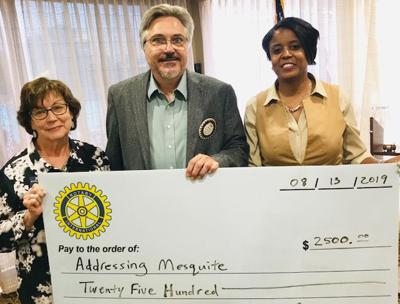 """Mesquite Rotary donates $2,500 to annual """"Addressing Mesquite Day"""""""